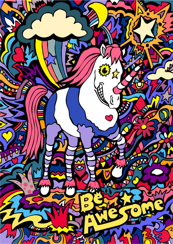 Illustration_Be_Awesome_Unicorn