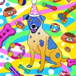 Party Dog Illustration