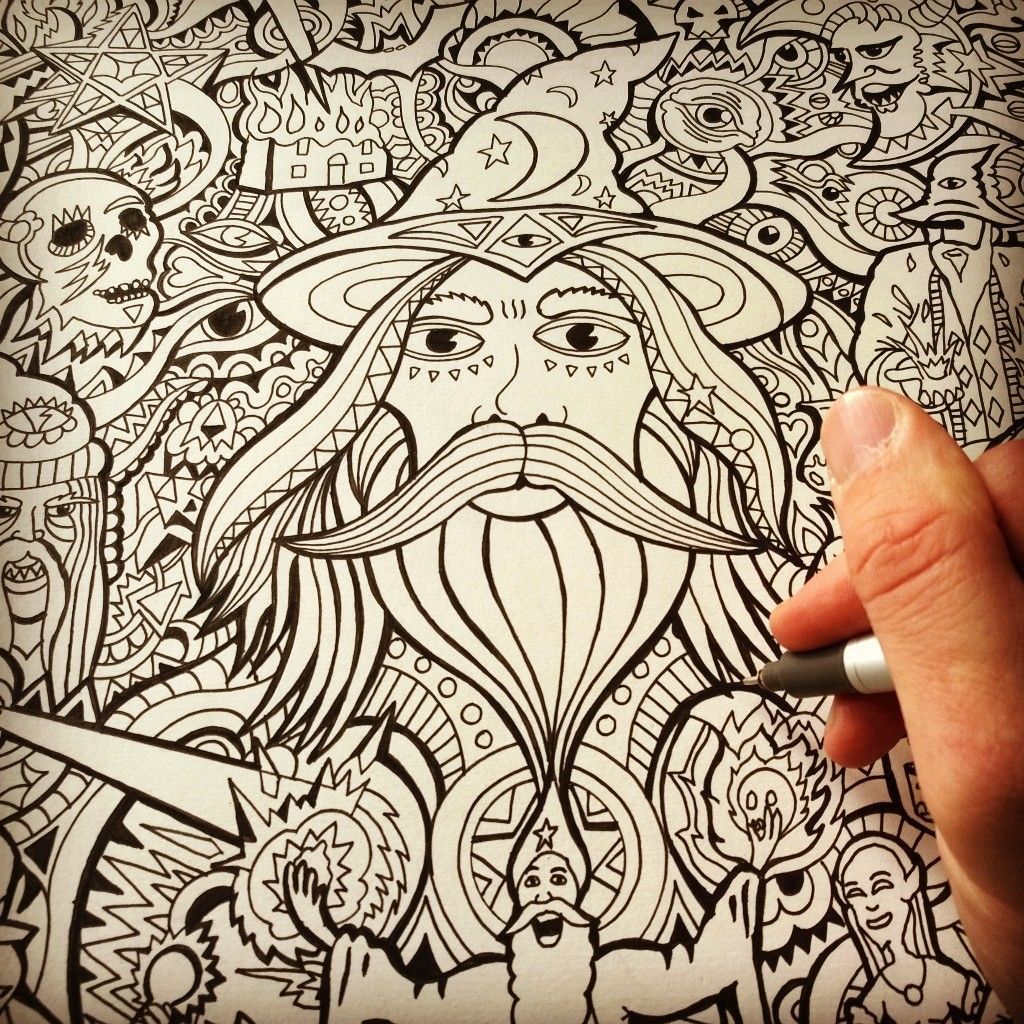 The Purple Wizard Drawing by Manic Minotaur